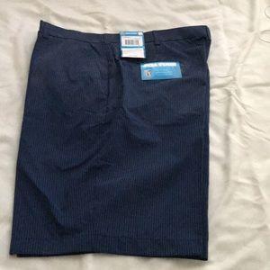 Navy striped PGA golf shorts